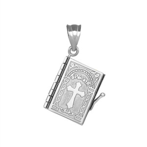 3D Moveable Russian Bible Pendant Necklace in .925 Sterling Silver