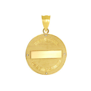 Divine Mercy Round Medallion with Diamonds Pendant Necklace in Gold (Yellow/Rose/White)