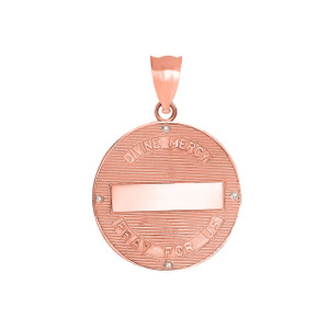 Divine Mercy Round Medallion with Diamonds Pendant Necklace in Two Tone Rose Gold