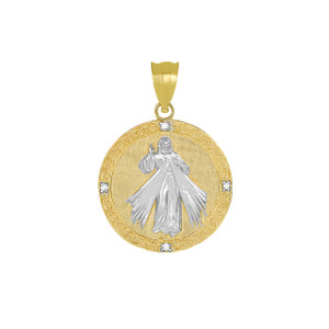 Divine Mercy Round Medallion with Diamonds Pendant Necklace in Two Tone Yellow Gold