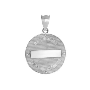 Divine Mercy Round Medallion with CZ Pendant Necklace in .925 Sterling Silver