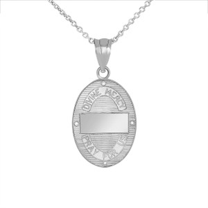 Divine Mercy Oval Medallion with CZ Pendant Necklace in .925 Sterling Silver