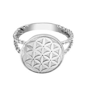 Split Shank Flower of Life Design Disc Rope Ring in White Gold