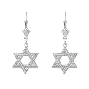 14K White Gold Diamond Jewish Star Of David Earrings