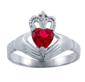 Silver Claddagh Ring with Garnet Birthstone.
