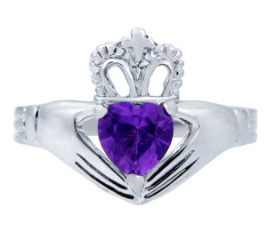 Silver Claddagh Ring with Amethyst Birthstone.