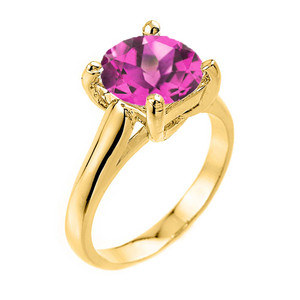 Solitaire  5ct (9.5 mm) Alexandrite  Birthstone  Engagement +/Promise Ring In Yellow Gold