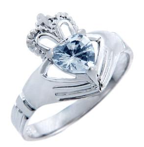 Silver Claddagh Ring with Aquamarine Birthstone.