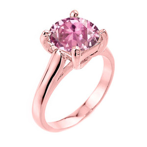 Solitaire  5ct (9.5 mm) Pink CZ Birthstone  Engagement +/Promise Ring In Rose  Gold