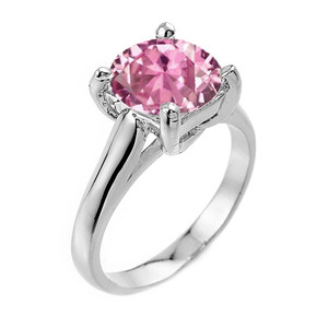 Solitaire 5ct (9.5 m) Pink CZ  Birthstone  Engagement +/Promise Ring In  Sterling Silver