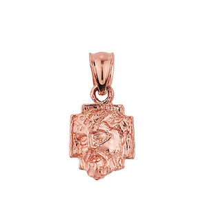 Solid Rose Gold Jesus Face Pendant