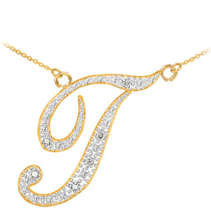 "14K Yellow Gold Letter Script ""A-Z"" Diamond Initial Necklace"