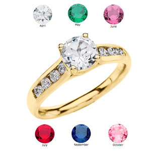 Yellow Gold Personalized Birthstone Engagement Proposal Ring