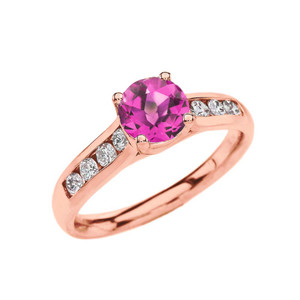 Rose Gold Personalized Birthstone Engagement Proposal Ring