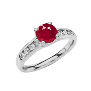 White Gold Personalized Birthstone Engagement Proposal Ring