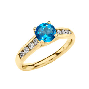 Yellow Gold Personalized Genuine Birthstone Engagement Proposal Ring