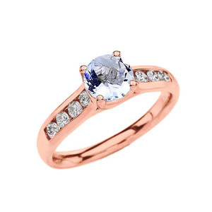 Rose Gold Personalized Genuine Birthstone Engagement Proposal Ring
