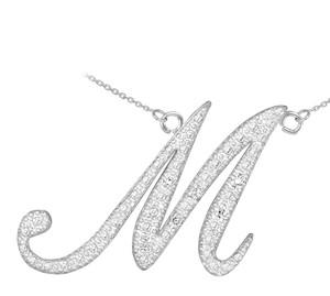 "14K White Gold Letter Script ""A-Z"" Diamond Initial Necklace"