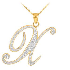 "14K Yellow Gold Letter Script ""A-Z"" Diamond Initial Pendant Necklace"