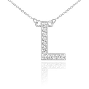 "14K White Gold Letter ""A-Z"" Diamond Initial Monogram Necklace"