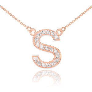"14K Rose Gold Letter ""A-Z"" Diamond Initial Monogram Necklace"