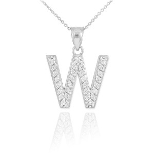 "White Gold Letter ""A-Z"" Initial Diamond Monogram Pendant Necklace"