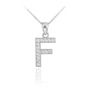 "Sterling Silver Letter ""A-Z"" Initial CZ Monogram Pendant Necklace"
