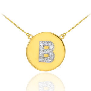 """14k Yellow Gold """"B"""" Initial Diamond Disc Double-Mount Necklace.  14 diamonds total weight: 0.17 ct  Diamond clarity: SI1-2  Diamond color: G-H  14k Pendant weight: 1.7 grams  14k Double-mount necklace weight (including weight of pendant and depending on chain length) is approximately 2.7 grams."""
