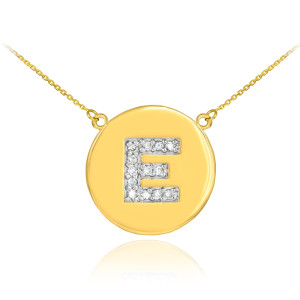 """14k Yellow Gold """"E"""" Initial Diamond Disc Double-Mount Necklace.  13 diamonds total weight: 0.13 ct  Diamond clarity: SI1-2  Diamond color: G-H  14k Pendant weight: 1.6 grams  14k Double-mount necklace weight (including weight of pendant and depending on chain length) is approximately 2.6 grams."""