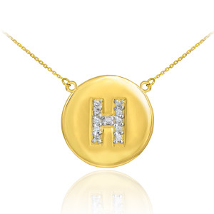 """14k Yellow Gold """"H"""" Initial Diamond Disc Double-Mount Necklace.  11 diamonds total weight: 0.11 ct  Diamond clarity: SI1-2  Diamond color: G-H  14k Pendant weight: 1.5 grams  14k Double-mount necklace weight (including weight of pendant and depending on chain length) is approximately 2.5 grams."""