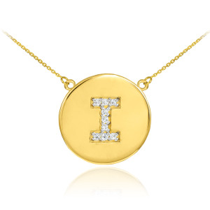 """14k Yellow Gold """"I"""" Initial Diamond Disc Double-Mount Necklace.  9 diamonds total weight: 0.09 ct  Diamond clarity: SI1-2  Diamond color: G-H  14k Pendant weight: 1.5 grams  14k Double-mount necklace weight (including weight of pendant and depending on chain length) is approximately 2.5 grams."""