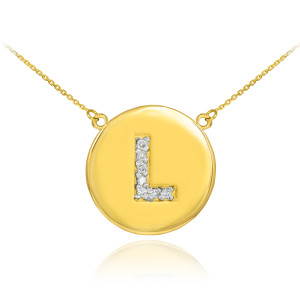 """14k Yellow Gold """"L"""" Initial Diamond Disc Double-Mount Necklace.  7 diamonds total approximate weight: 0.07 ct  Diamond clarity: SI1-2  Diamond color: G-H  14k Pendant weight: 1.5 grams  14k Double-mount necklace weight (including weight of pendant and depending on chain length) is approximately 2.5 grams."""