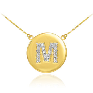"14k Yellow Gold ""M"" Initial Diamond Disc Double-Mount Necklace.  19 diamonds total approximate weight: 0.25 ct  Diamond clarity: SI1-2  Diamond color: G-H  14k Pendant weight: 1.5 grams  14k Double-mount necklace weight (including weight of pendant and depending on chain length) is approximately 2.5 grams."