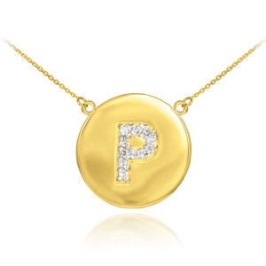 "14k Yellow Gold ""P"" Initial Diamond Disc Double-Mount Necklace.  10 diamonds total approximate weight: 0.10 ct  Diamond clarity: SI1-2  Diamond color: G-H  14k Pendant weight: 1.5 grams  14k Double-mount necklace weight (including weight of pendant and depending on chain length) is approximately 2.5 grams."