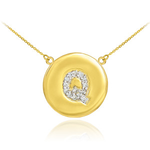 """14k Yellow Gold """"Q"""" Initial Diamond Disc Double-Mount Necklace.  13 diamonds total approximate weight: 0.13 ct  Diamond clarity: SI1-2  Diamond color: G-H  14k Pendant weight: 1.5 grams  14k Double-mount necklace weight (including weight of pendant and depending on chain length) is approximately 2.5 grams."""