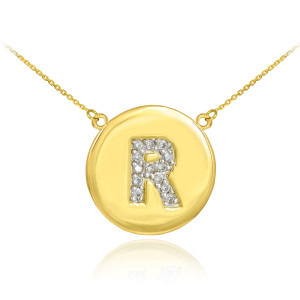 """14k Yellow Gold """"R"""" Initial Diamond Disc Double-Mount Necklace.  13 diamonds total approximate weight: 0.13 ct  Diamond clarity: SI1-2  Diamond color: G-H  14k Pendant weight: 1.5 grams  14k Double-mount necklace weight (including weight of pendant and depending on chain length) is approximately 2.5 grams."""