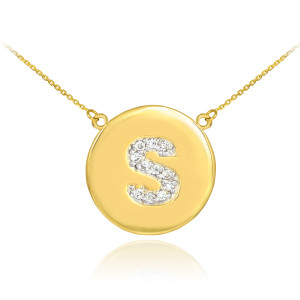 """14k Yellow Gold """"S"""" Initial Diamond Disc Double-Mount Necklace.  11 diamonds total approximate weight: 0.15 ct  Diamond clarity: SI1-2  Diamond color: G-H  14k Pendant weight: 1.5 grams  14k Double-mount necklace weight (including weight of pendant and depending on chain length) is approximately 2.5 grams."""