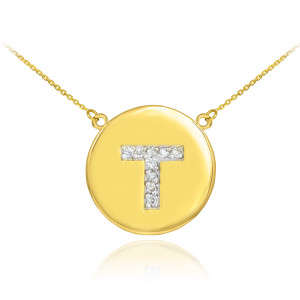 """14k Yellow Gold """"T"""" Initial Diamond Disc Double-Mount Necklace.  9 diamonds total approximate weight: 0.12 ct  Diamond clarity: SI1-2  Diamond color: G-H  14k Pendant weight: 1.5 grams  14k Double-mount necklace weight (including weight of pendant and depending on chain length) is approximately 2.5 grams."""