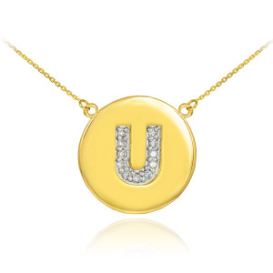 """14k Yellow Gold """"U"""" Initial Diamond Disc Double-Mount Necklace.  11 diamonds total approximate weight: 0.14 ct  Diamond clarity: SI1-2  Diamond color: G-H  14k Pendant weight: 1.5 grams  14k Double-mount necklace weight (including weight of pendant and depending on chain length) is approximately 2.5 grams."""