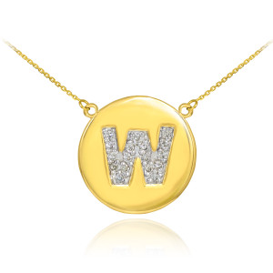 """14k Yellow Gold """"W"""" Initial Diamond Disc Double-Mount Necklace.  19 diamonds total approximate weight: 0.25 ct  Diamond clarity: SI1-2  Diamond color: G-H  14k Pendant weight: 1.5 grams  14k Double-mount necklace weight (including weight of pendant and depending on chain length) is approximately 2.5 grams."""
