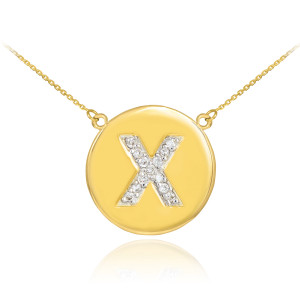 """14k Yellow Gold """"X"""" Initial Diamond Disc Double-Mount Necklace.  13 diamonds total approximate weight: 0.18 ct  Diamond clarity: SI1-2  Diamond color: G-H  14k Pendant weight: 1.5 grams  14k Double-mount necklace weight (including weight of pendant and depending on chain length) is approximately 2.5 grams."""
