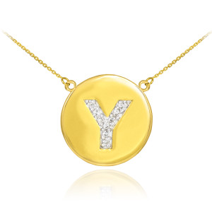 "14k Yellow Gold ""Y"" Initial Diamond Disc Double-Mount Necklace.  9 diamonds total approximate weight: 0.12 ct  Diamond clarity: SI1-2  Diamond color: G-H  14k Pendant weight: 1.5 grams  14k Double-mount necklace weight (including weight of pendant and depending on chain length) is approximately 2.5 grams."