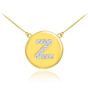 """14k Yellow Gold """"Z"""" Initial Diamond Disc Double-Mount Necklace.  14 diamonds total approximate weight: 0.18 ct  Diamond clarity: SI1-2  Diamond color: G-H  14k Pendant weight: 1.5 grams  14k Double-mount necklace weight (including weight of pendant and depending on chain length) is approximately 2.5 grams."""