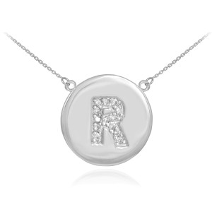 """14K White Gold Letter """"A-Z"""" Initial Diamond Disc Necklace"""