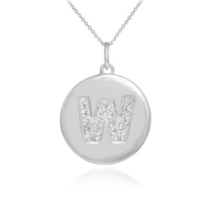 "White Gold Letter ""A-Z"" Initial Diamond Disc Pendant Necklace"