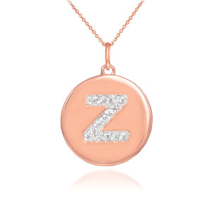 "Rose Gold Letter ""A-Z"" Initial Diamond Disc Pendant Necklace"