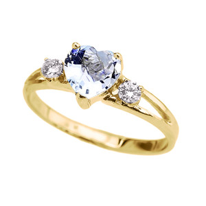 10k Yellow Gold Birthstone Heart Proposal/Promise Ring  (12 Birthstones)