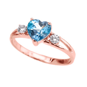 14k Rose Gold Birthstone Heart Proposal/Promise Ring  (12 Birthstones)