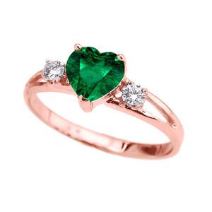 14k Rose Gold Birthstone Heart Proposal/Promise Ring  (12 Birthstones)
