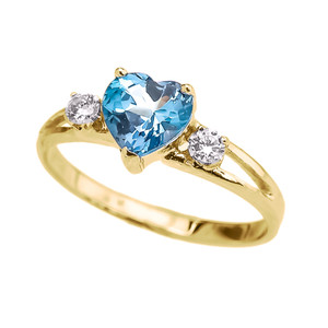 10K Yellow Gold Birthstone and C.Z Heart Promise Ring  (12 Birthstones)